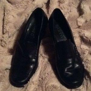 Franco Sarto black platform loafers